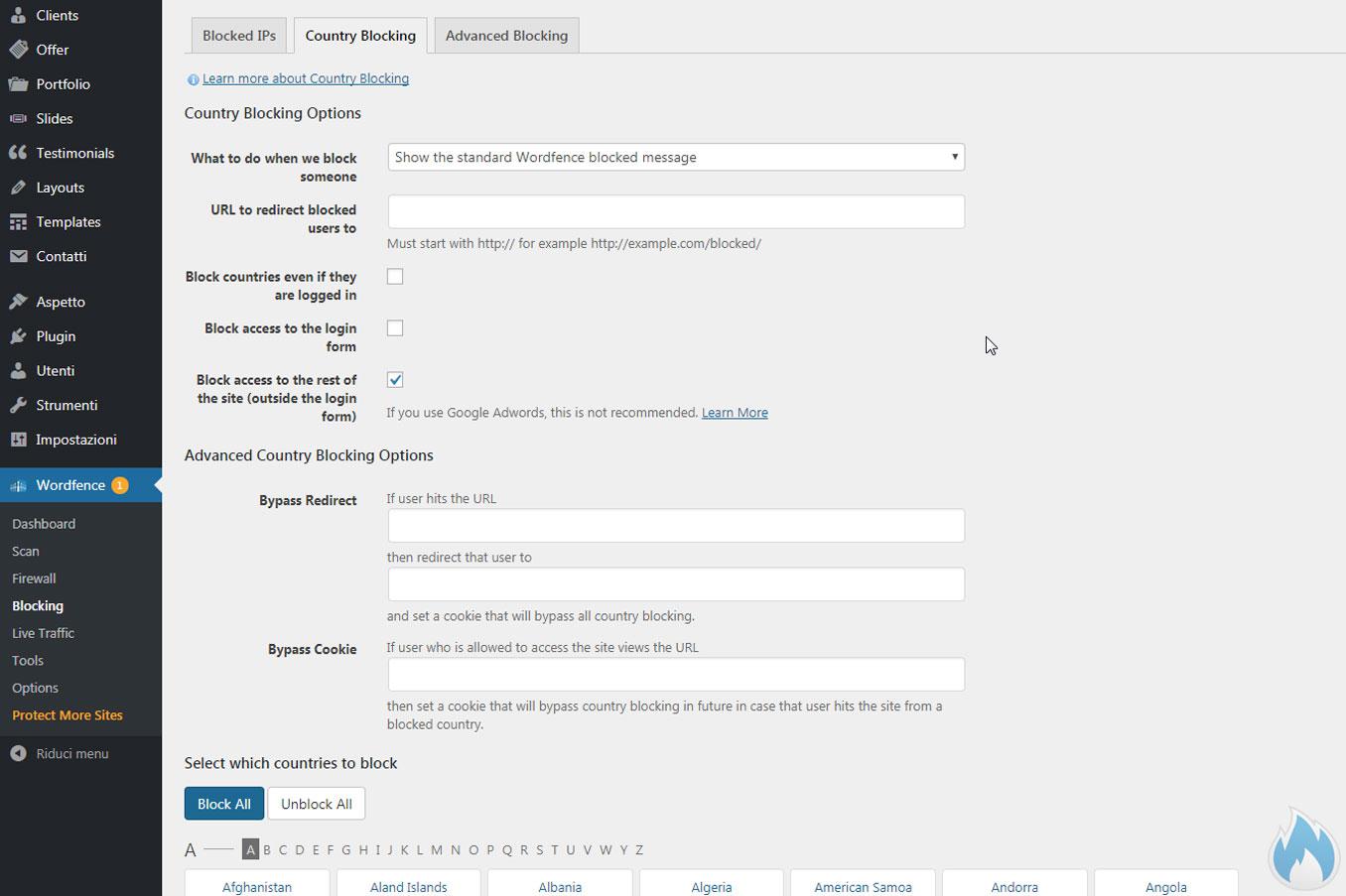 Sezione Country Blocking di Wordfence