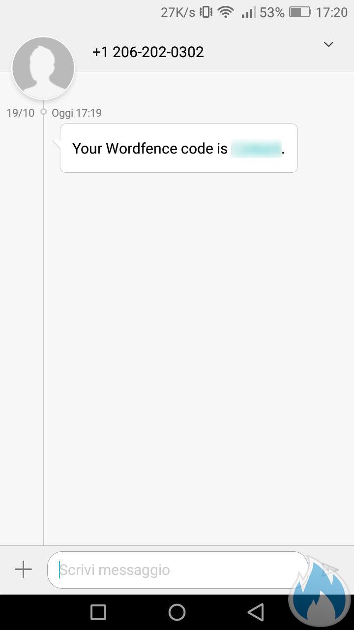Screen dello smartphone per mostrare funzione Cell Phone Sign In di Wordfence