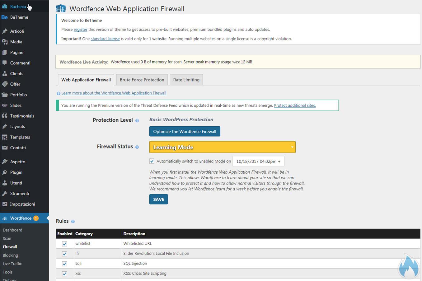Il Firewall di Wordfence