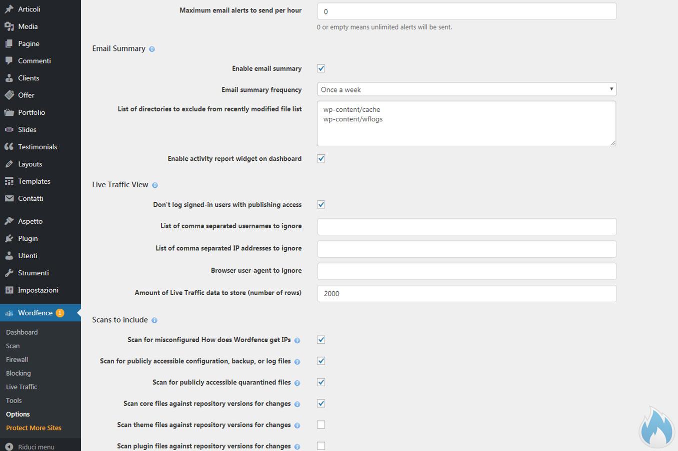 Le opzioni avanzate di Wordfence 2