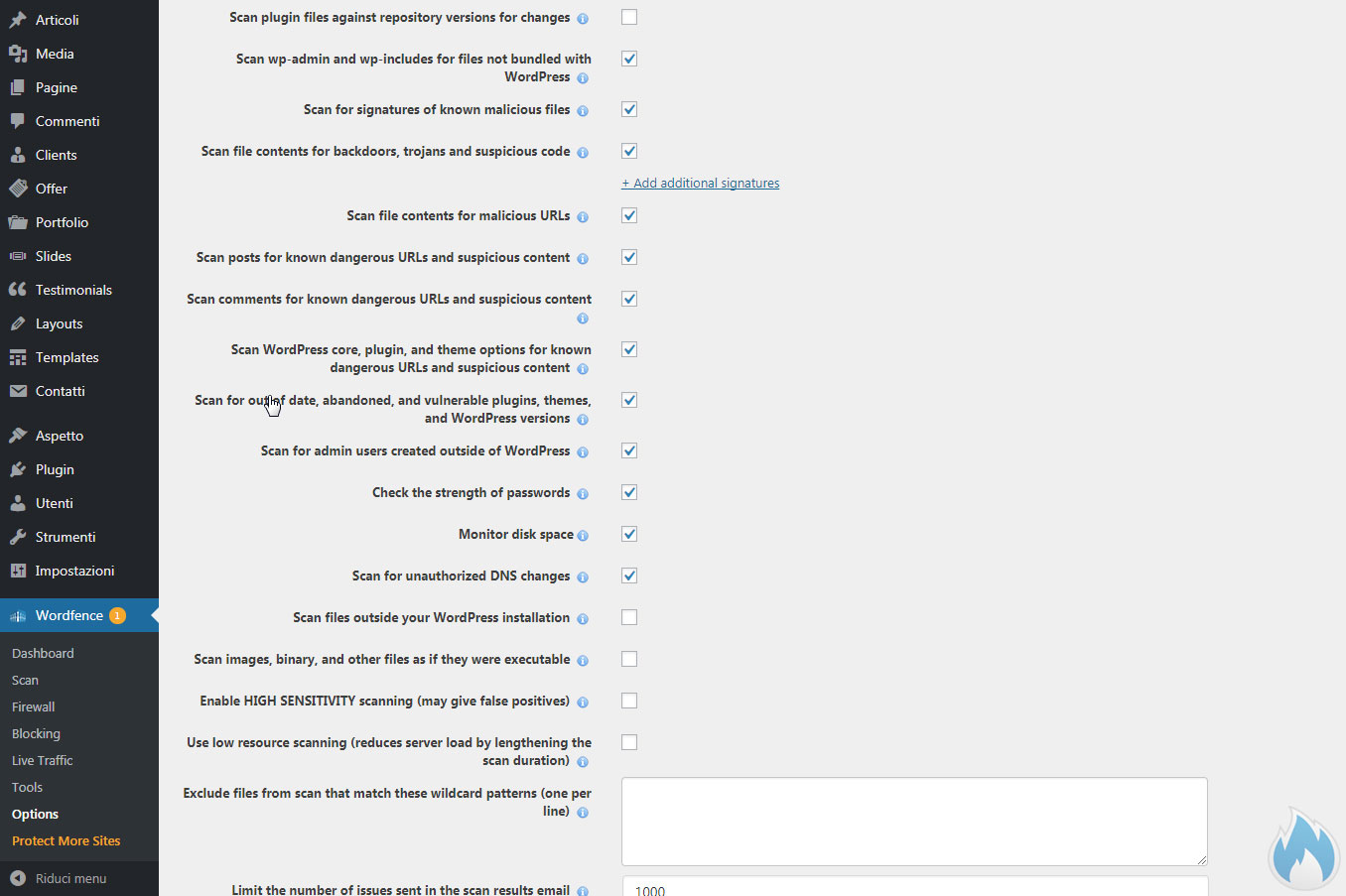 Le opzioni avanzate di Wordfence 3
