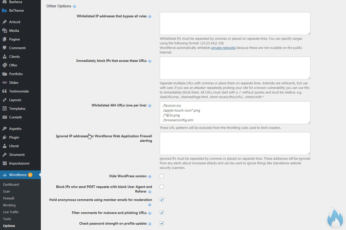 Le opzioni avanzate di Wordfence 5