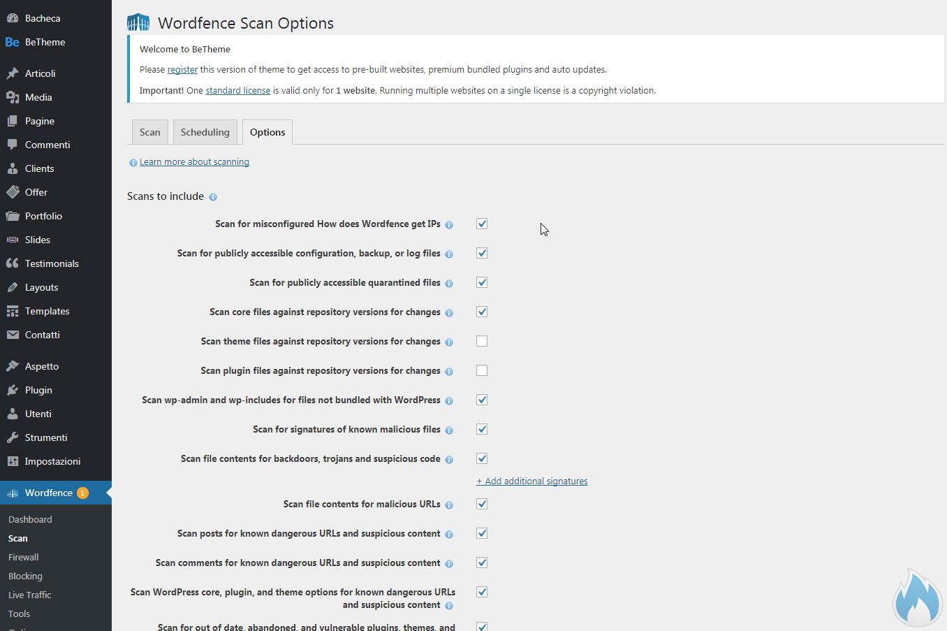 Opzioni della sezione scan di Wordfence
