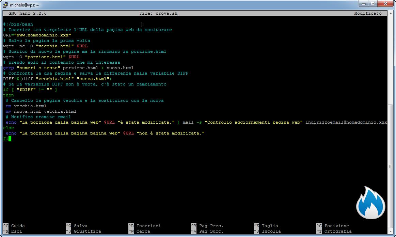 Come creare uno script shell per sapere quando un porzione di una pagina web cambia