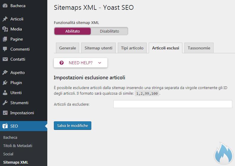 SEO Yoast Guida Completa Sitemaps XML Sitemap Articoli Esclusi
