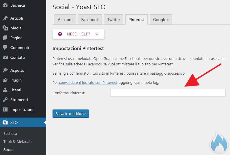 SEO Yoast Guida Completa Social Pinterest