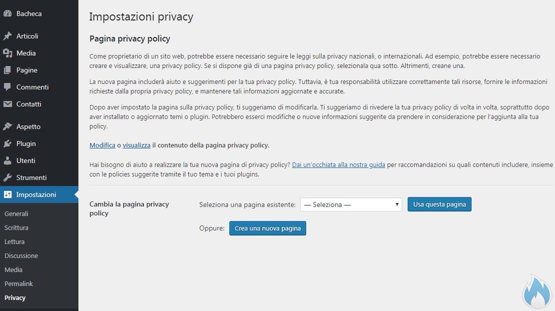 WordPress 4.9 nuova sezione privacy