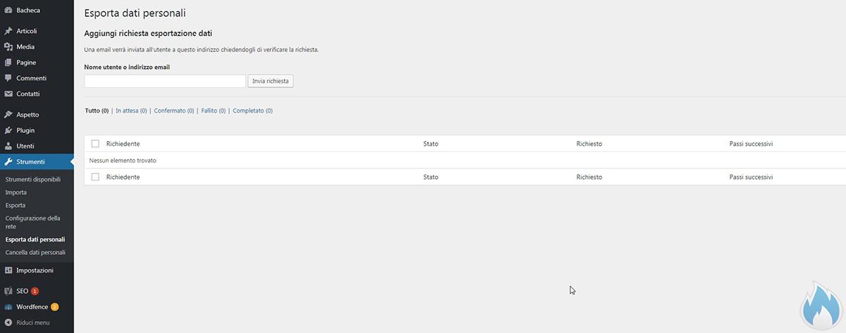 WordPress 4.9.6 Nuova sezione esportazione dati