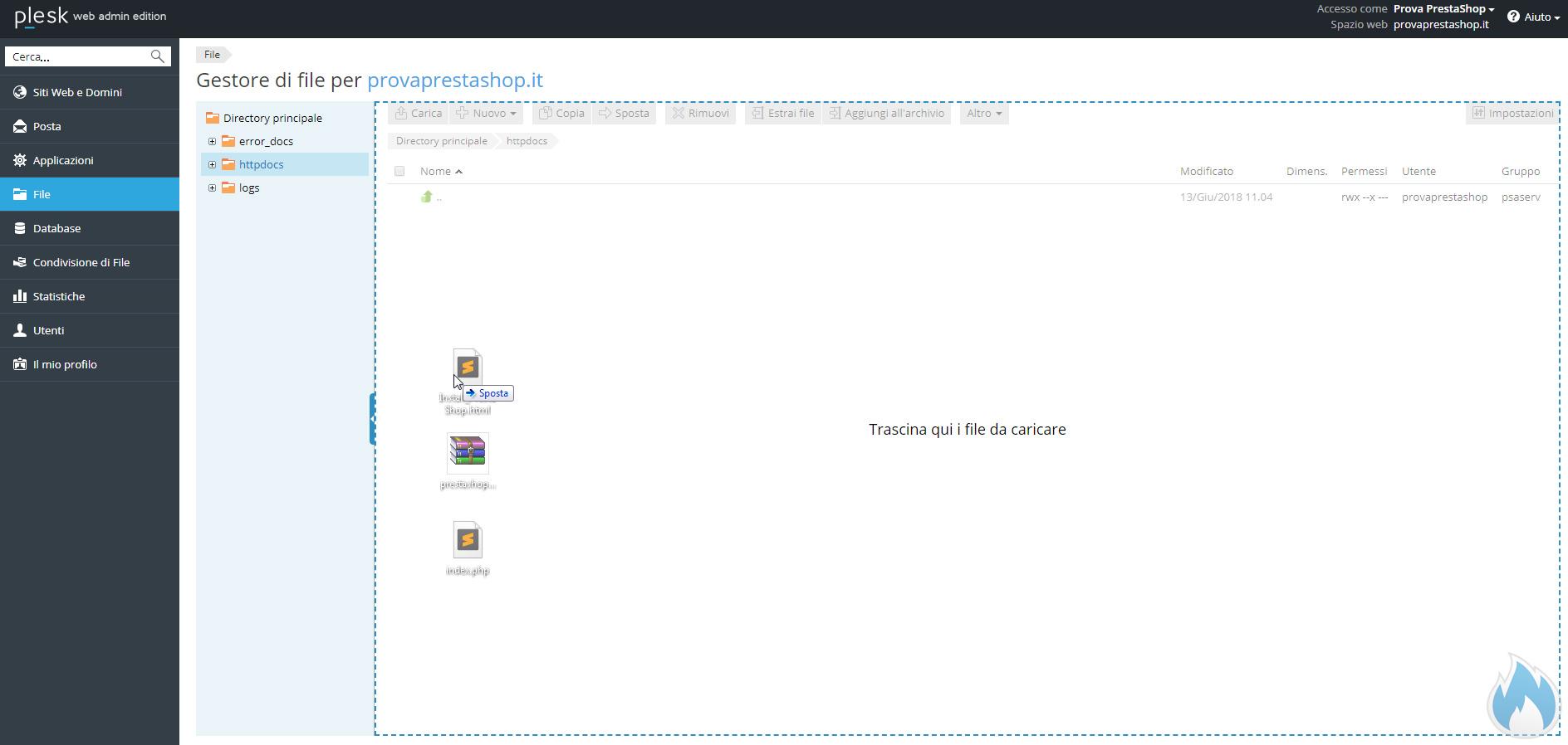 Installazione Manuale PrestaShop