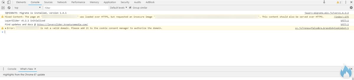 Google Chrome Console con risorse non https