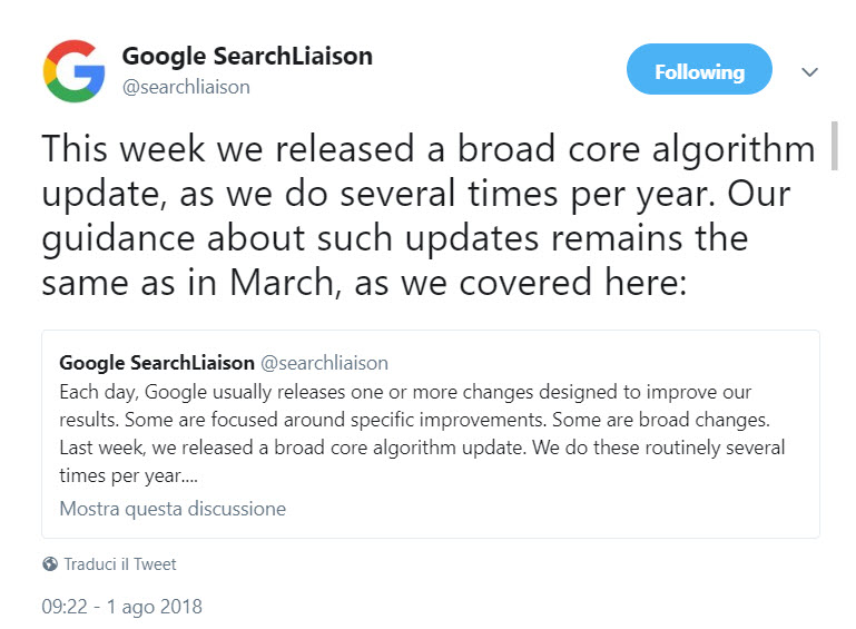 Google aggiornamento estivo