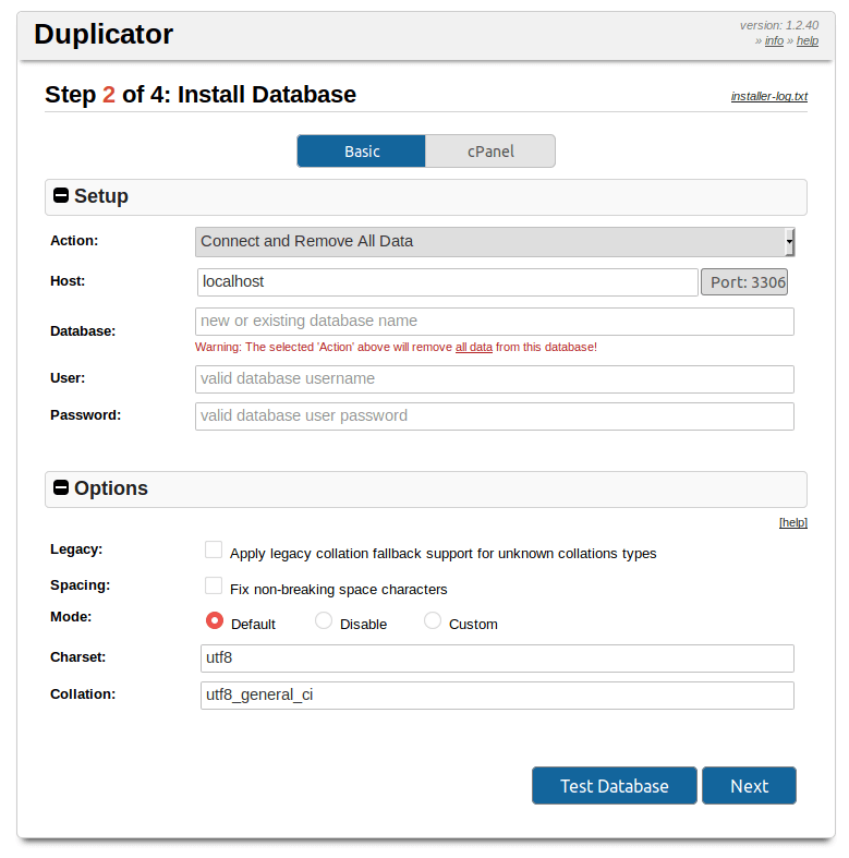 Installer di Duplicator