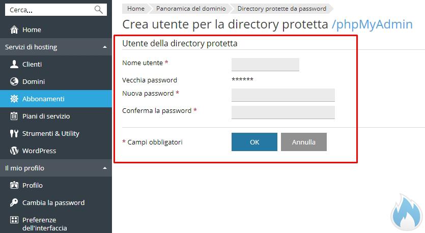 Crea utente per la directory protetta