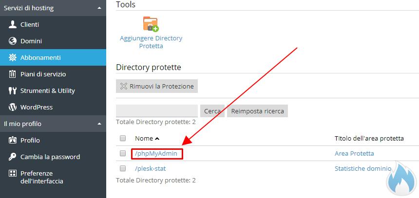 Directory protette nel sito web