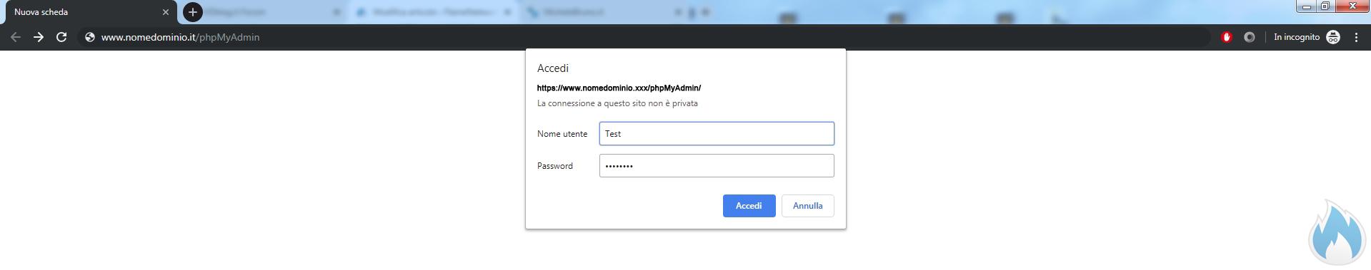Esempio Pagina con htpassword