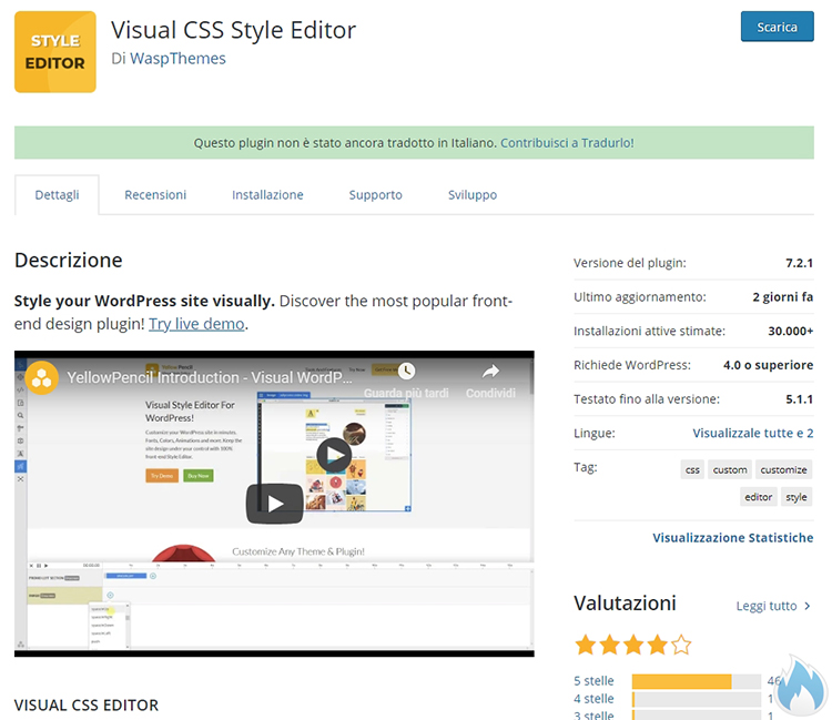 WordPress Plugin Visual CSS Style Editor aggiornato