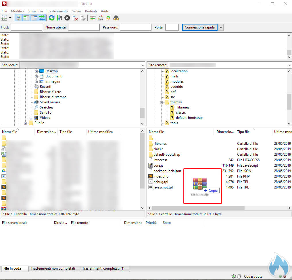 FileZilla caricamento file.zip tema PrestaShop