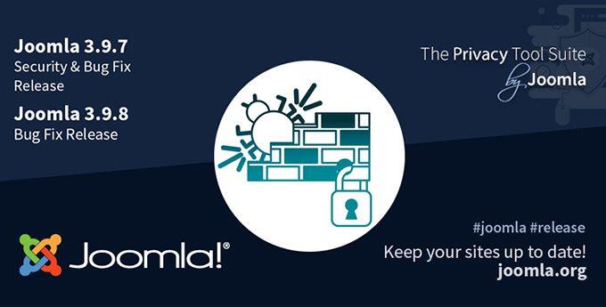 Joomla 3.9.7 e Joomla 3.9.8, aggiornamenti di sicurezza e bug fix