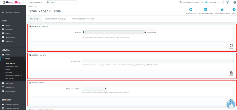 PrestaShop: sezione aggiungi tema carica tema