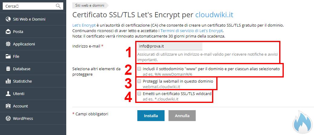 Attivazione certificato Let's Encrypt con Plesk