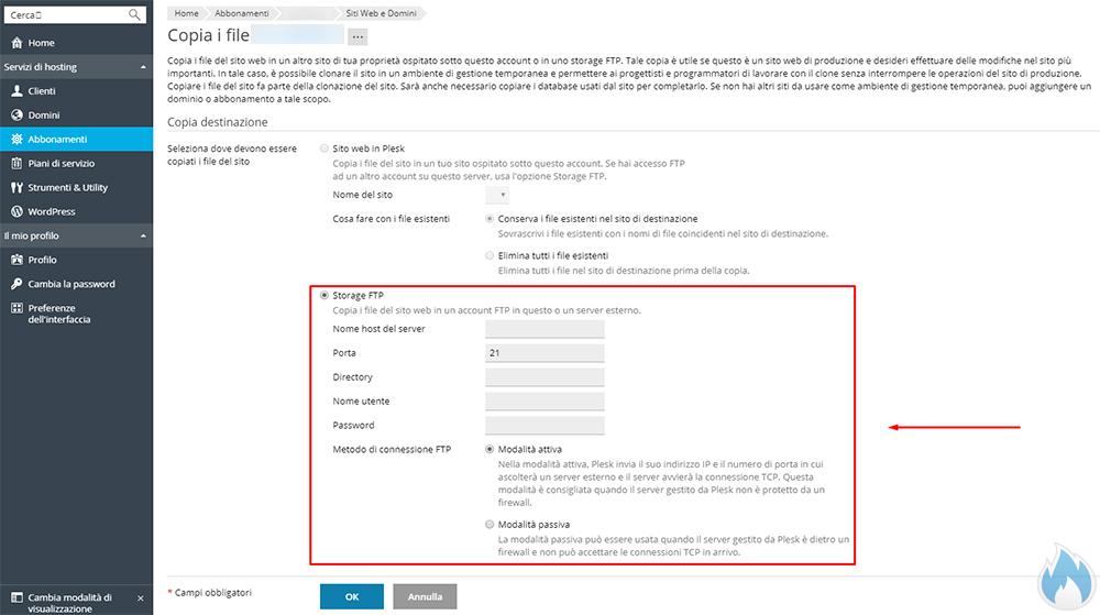Plesk: Copia del sito web - Storage FTP