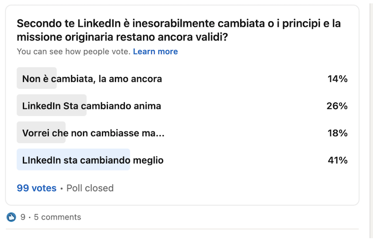 percezione del cambiamento di Linkedin